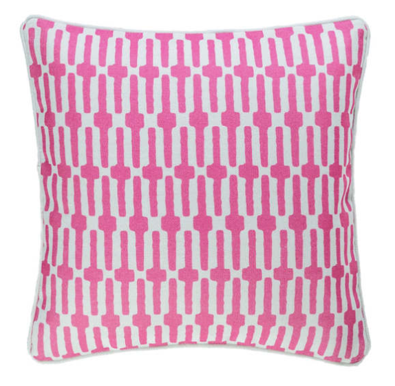 links pattern indoor/outdoor pillow - fuschia