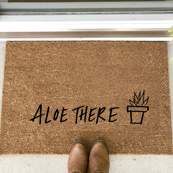 """aloe there"" door mat"