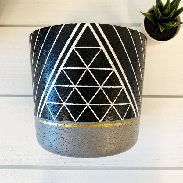 weave + stripe flower pot, black + gold