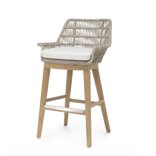 teak barstool with natural color roping