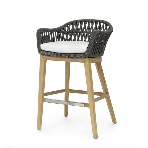 teak barstool with heather grey roping
