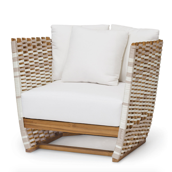 teak frame lounge chair with taupe + white roping
