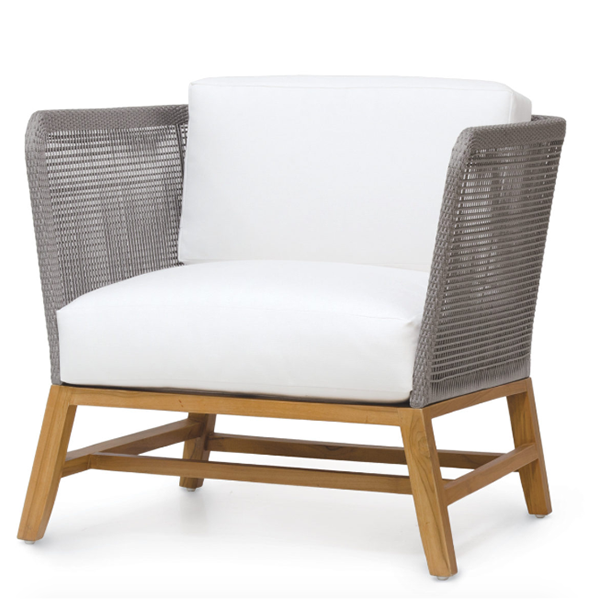 teak frame lounge chair with marine grade roping