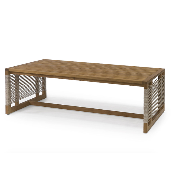 teak wood frame coffee table with brown weave