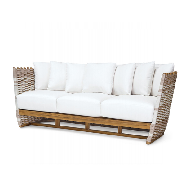 teak frame sofa with taupe + white roping
