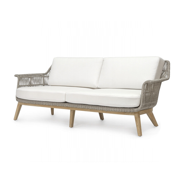 teak sofa with heather grey rope sidings