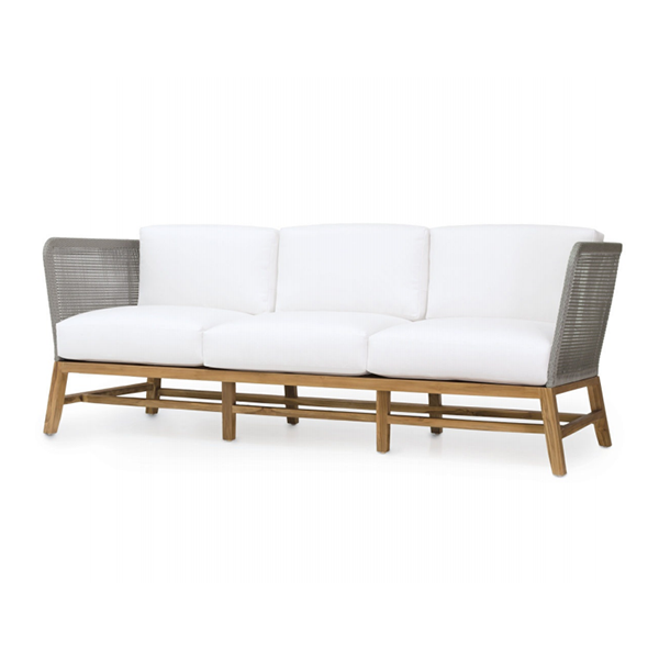teak frame sofa with marine grade roping