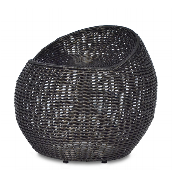 black wicker swivel stool