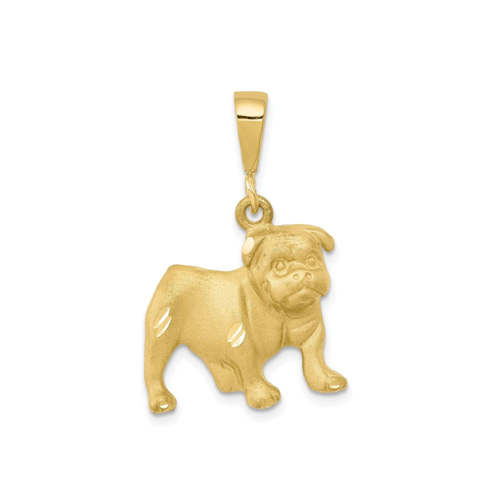 10k Yellow Gold Standing Dog Charm Pendant - 25mm - thediggitydogstore.com