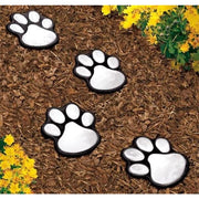 4 Pcs LED Lights Outdoor Path Lights In Paw Print Shape. Solar - thediggitydogstore.com