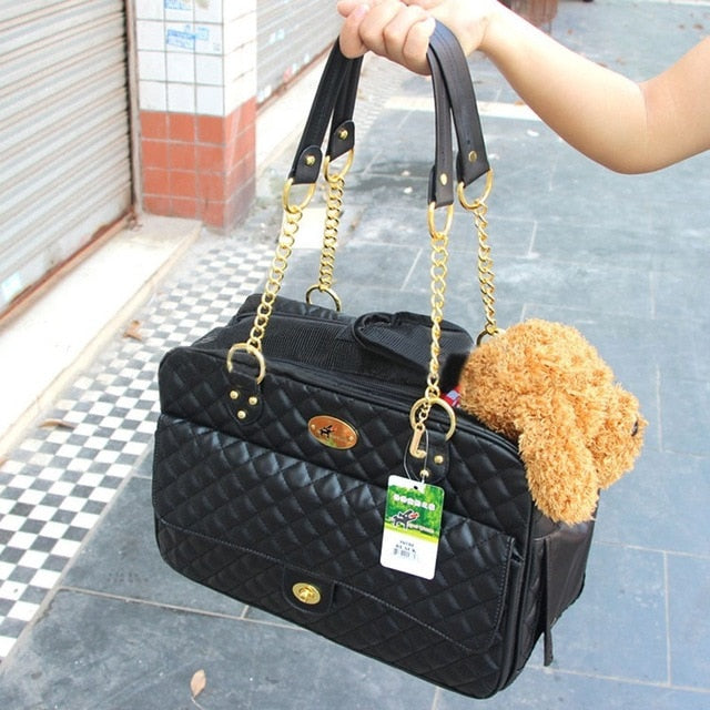 Dogs Bags Pet Carrier Cat Carrier Puppy Carrier Portable Travel Carry Bags Faux Leather Breathable Dog Bag Handbag 40*18*27CM - thediggitydogstore.com