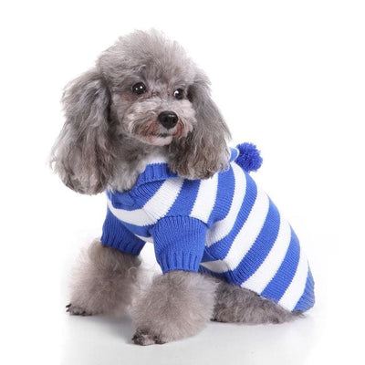Adorable Blue White Stripe Dog Sweater - thediggitydogstore.com