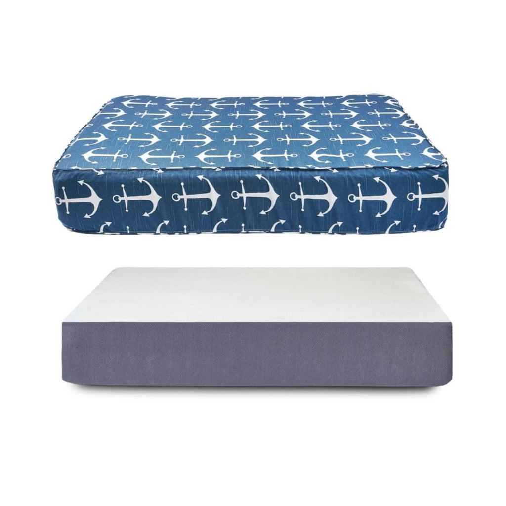 Anchor Print Dog Bed Bundle - thediggitydogstore.com