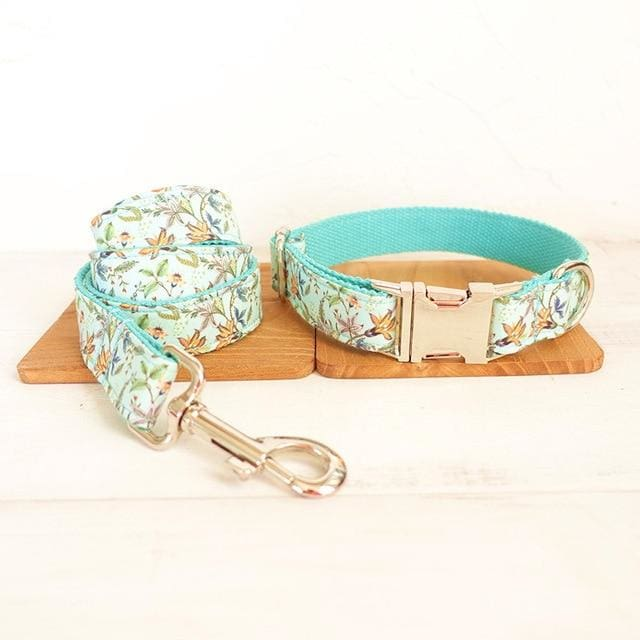 Beautiful Turquoise Flowers Dog Collar & Leash.  Custom Engraved - thediggitydogstore.com