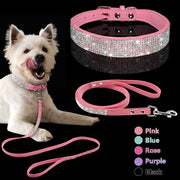 Bling Rhinestone Soft Sued Leather Collars & Leash Set. Sparkley! - thediggitydogstore.com