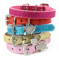 Blingy Dog Collar With Heart Pendant. Glamorous! - thediggitydogstore.com