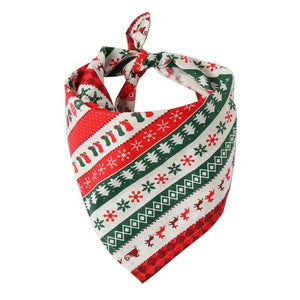 Christmas Pet Neckerchief Saliva Towel Red Green Santa Reindeer Striped Xmas Gift Bibs Scarf Collar for Small Large Dogs - thediggitydogstore.com