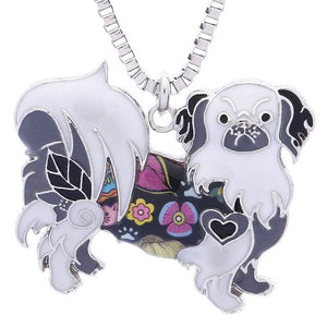 Colorful Enamel Pekingese Dog Pendant Necklace - thediggitydogstore.com