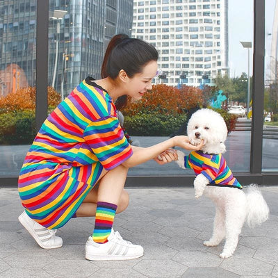 Cotton Chihuahua Rainbow Striped People-Pet Dog Matching T-Shirts - thediggitydogstore.com