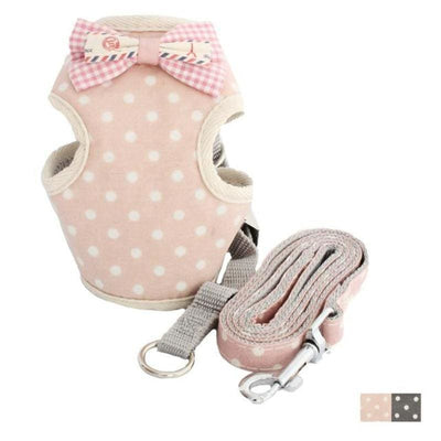 Cute Polka Dot Matching Dog Vest & Leash Set - thediggitydogstore.com