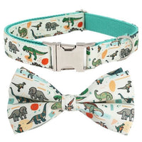 Dinosaur Dog Collar & Leash Set With Bow Tie Engravable Hand Crafted! - thediggitydogstore.com