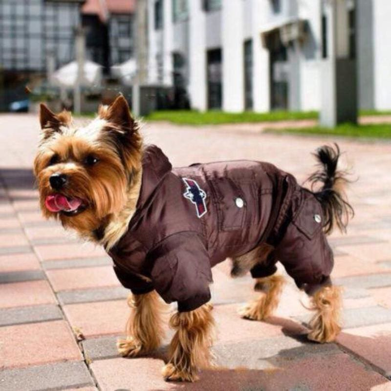 Dog Airman's Fleece Lined Parka Suit With Fur Hood S,M,L,XL Red Blue Brown - thediggitydogstore.com