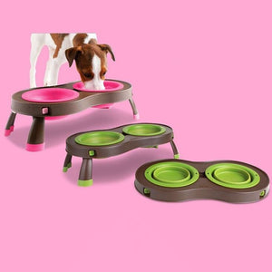 Dog bowl Folding Adjustable - thediggitydogstore.com