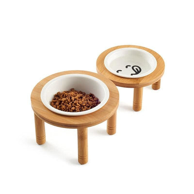 Dog Bowls On A Bamboo Stand With Ceramic Bowls - thediggitydogstore.com