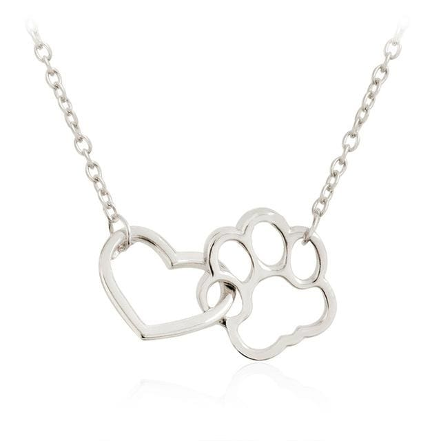 Dog Paw print Heart Pendant Necklace. Limited Time Only! - thediggitydogstore.com