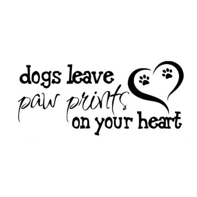 Dog Paw Print On Your Heart Vinyl Decal - thediggitydogstore.com
