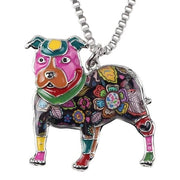 Dog Pendant of American Pit Bull Necklace.  Enamel Mosaic Necklace - thediggitydogstore.com