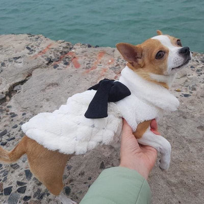 Warm Winter Dog Faux Fur Coat With A Bow