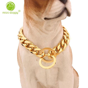 Hipster, Gold, Silver Black Dogs Chain Collars for Large Dogs - thediggitydogstore.com