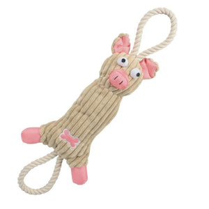 Jute And Rope Plush Pink Pig Toy - thediggitydogstore.com