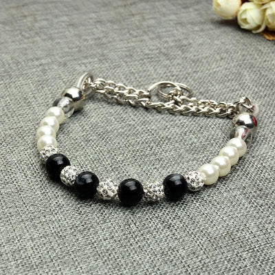 Luxury White & Black Pearl Dog Collar. Gorgeous & Classy - thediggitydogstore.com