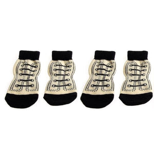 New 4pcs Pet Dog Paw Socks High-Top  S-XL - thediggitydogstore.com