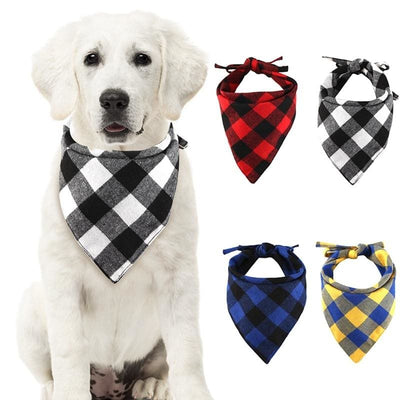 New Winter Dog Bandanas Cotton Plaid In S-L - thediggitydogstore.com