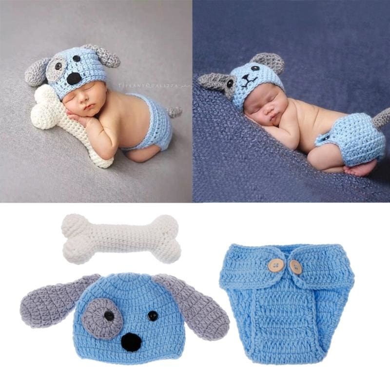 Newborn Photography Props Lovely Dog Costume Set knitting studio photography Cute photography clothes - thediggitydogstore.com