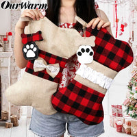 OurWarm Christmas Hanging Ornaments Pet Burlap Christmas Stockings 42cm*26cm New Year Home Decoration Festive DIY Supplies - thediggitydogstore.com