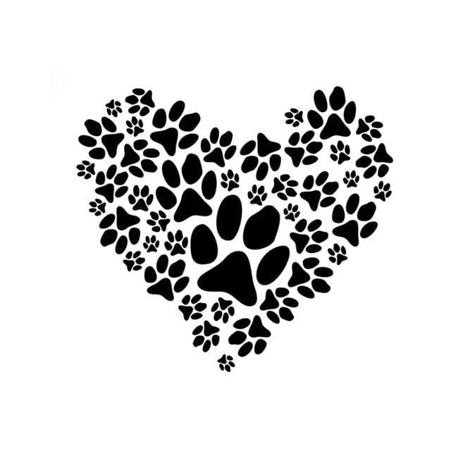 Paw Prints Heart Art, Car Vinyl Decal - thediggitydogstore.com