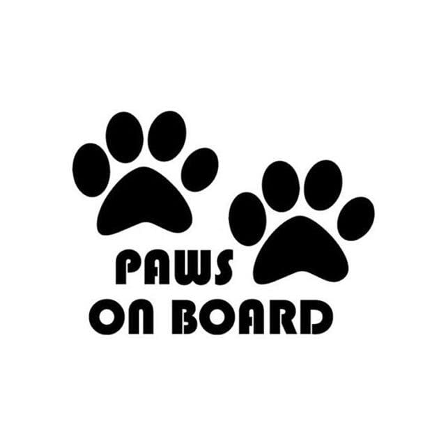 """ Paws On Board "" Vinyl Car Decal Paw Print Sticker Reflective Too! - thediggitydogstore.com"