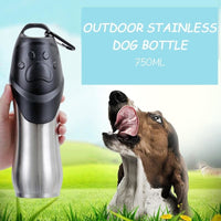 Pet Bottle 750 ML High Capacity Portable Safety Stainless Steel Dog Cat Drinking Water Bottle Outdoors Travel Dog Bowl Dispenser - thediggitydogstore.com