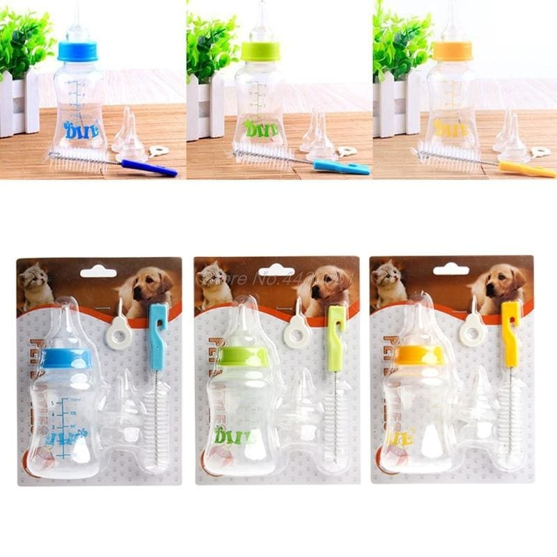 Puppy Feeding Bottle 150ml and 60ml For Nursing. With Cleaning Brush - thediggitydogstore.com