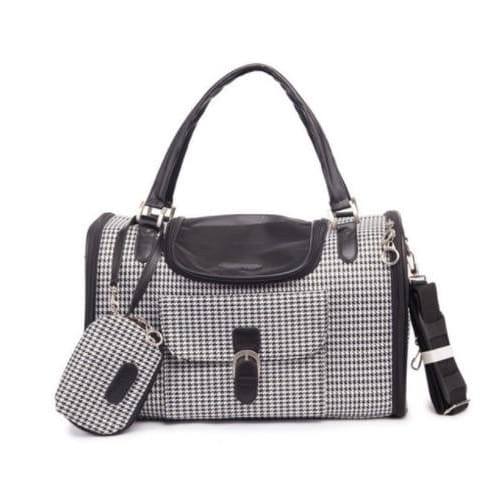 Really Classy Dog Carrying Bags, Rose, Black, Hounds Tooth.  Looks Like A Purse - thediggitydogstore.com
