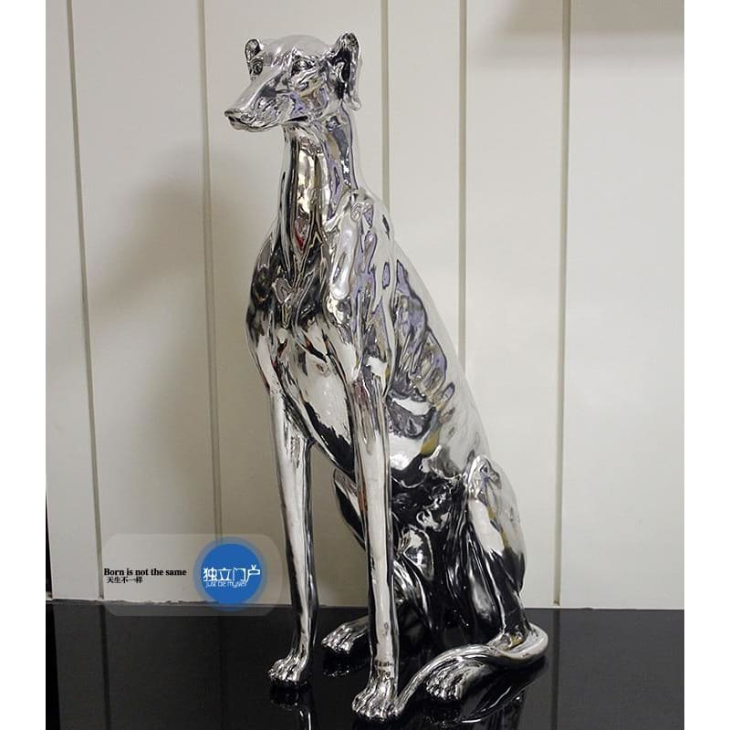 Tall Resin Electroplate Greyhound Dog Statue Impressive - thediggitydogstore.com