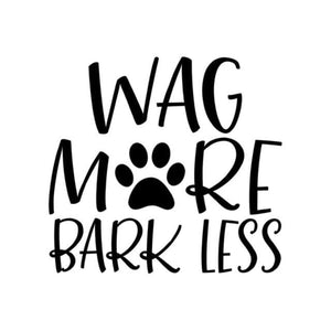 """Wag More Bark Less"" Paw Print Vinyl Car Decal Sticker - thediggitydogstore.com"
