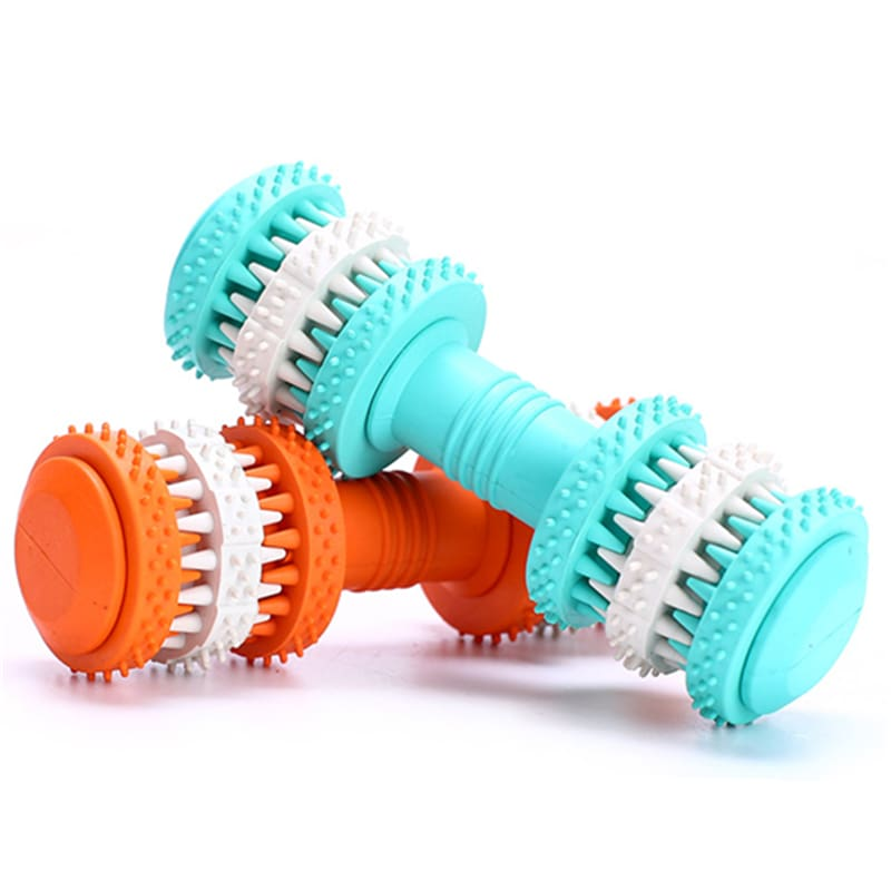 Rubber Dog Toy Molar Tooth Dumbbell Swivel Dental Bite Resistant Tooth Cleaning Dog Toy Balls for Pet Training with 4 Colors