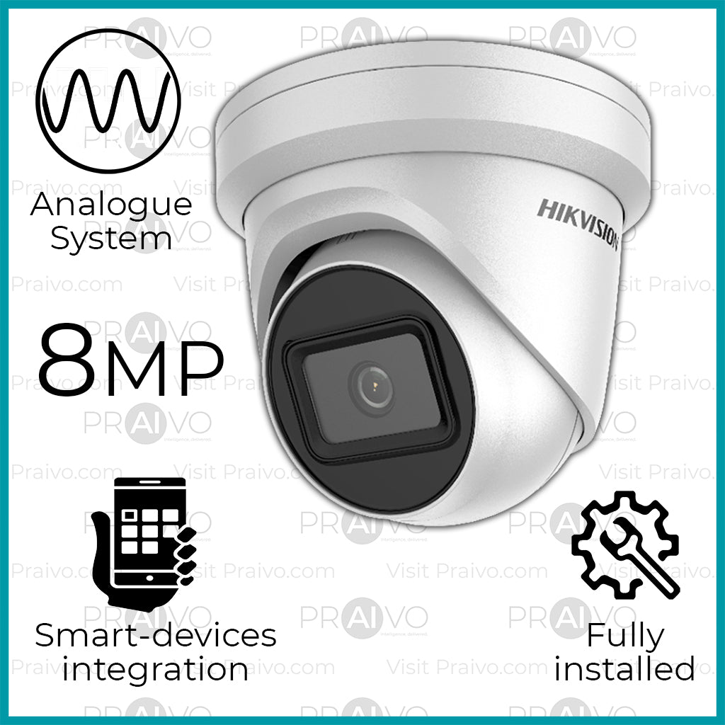 Series-8 Analogue UHD (4K) Hikvision Dome Camera CCTV System (Free Installation) - Praivo