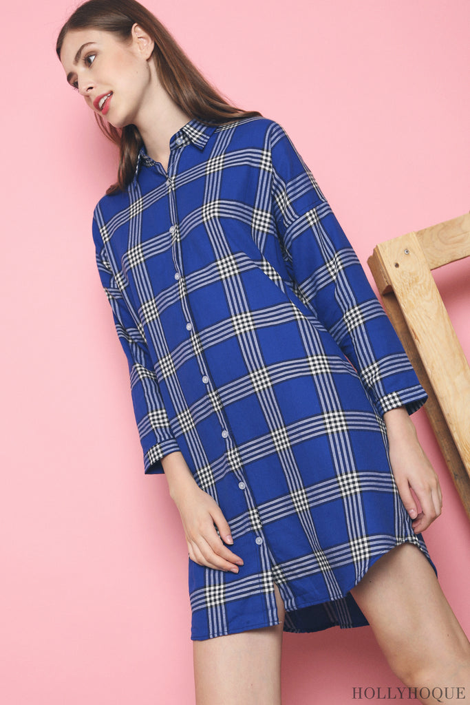 2cc804c32f22 The Aderyl Checkered Shirt Dress (Blue, Dust Pink, Navy) is a happy union  of two of our favourite trends - checkered print on a boyfriend shirt dress  cut.