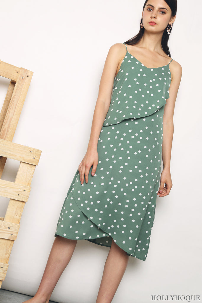 c08e50558bd4 Cute as a cupcake, the triple tiers of the Akira Polka Dot Midi Dress  (Black, Jade, Oat) now come in polka dot prints, the perfect icing on the  cake.